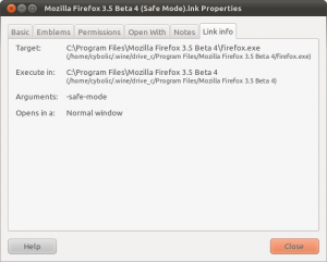 The Nautilus property page showing the info in the link for Mozilla Firefox in safe mode